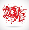 Grunge background with bright red heart love paint vector