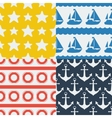 Nautical seamless patterns set in flat design vector