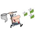 Happy businessman chasing money vector