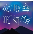 Astrological signs night mountain landscape with vector
