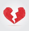 Red broken polygonal heart vector