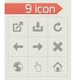 Black web icons set vector