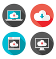 Cloud services flat icons with shadows set vector