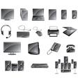 Media icon set glossy gray color vector