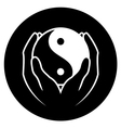 Hands holding yin yang symbol vector