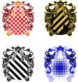Four ornate and grunge shields vector