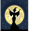 Beautiful witch standing on background of the moon vector