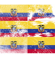 Flag of ecuador with old texture vector