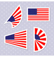 Set of stylish american flags independence day des vector