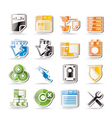 Simple server side computer icons vector