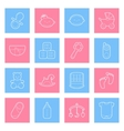Baby lines icons set vector