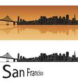 San francisco skyline in orange background vector