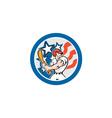 American baseball player batting circle cartoon vector