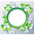 Patricks day background frame with 3d leaf clover vector