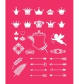 Pink decor with crowns vector