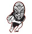 Maori rugby player running vector