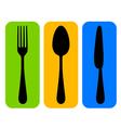 Colorful cutlery icon vector
