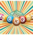 Bingo balls and cards on retro starburst vector