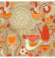 Retro coffee seamless pattern tea background vector