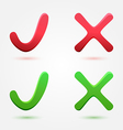 Check and cross mark or symbol vector
