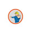 Builder hands out circle cartoon vector