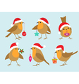 Christmas robins vector