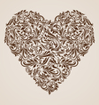 Decorated brown heart vector