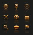 Golden web icons set vector