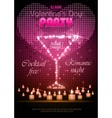 Valentine disco poster with hearts and cocktails vector