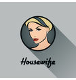 Housewife retro icon with long shadow vector