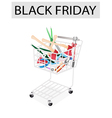 Various craft tools in black friday shopping cart vector