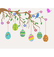 Easter egg hanging on tree and birds flowers card vector