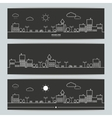 Set of banners with contour urban landscape vector