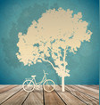 Background with bicycle under tree vector