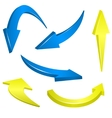 Yellow and blue arrows vector