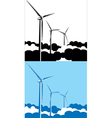 Wind turbines in the clouds vector