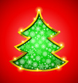Christmas tree with golden border snowflakes and vector