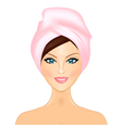 Smiling girl with pink towel vector