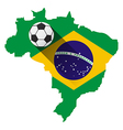 Brazil map with soccer ball vector