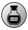 Laboratory glass with sulfuric asid button vector