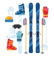 Skiing equipment icons set in flat design style vector