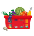 Healthy shopping cart vector
