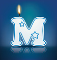 Candle letter m with flame vector