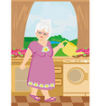 Old lady watering the flowers vector