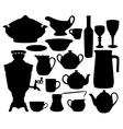 Dishes silhouettes set vector