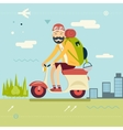 Happy smiling man geek hipster with traveler vector