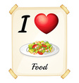 A flashcard showing the love of foods vector
