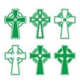 Irish scottish celtic green cross on white - vect vector