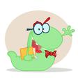 Friendly book worm vector