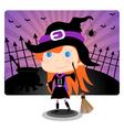 Witch halloween girl vector